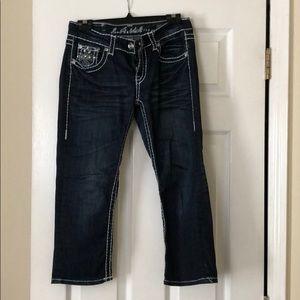 Denim - Cute, studded jean capris